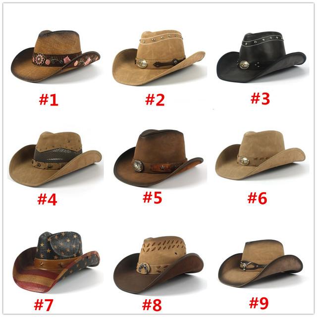 Cowboy Hats Women Men Western Cowboy Hat For Dad Gentleman Lady Leather Sombrero Hombre Jazz Caps Size 58CM
