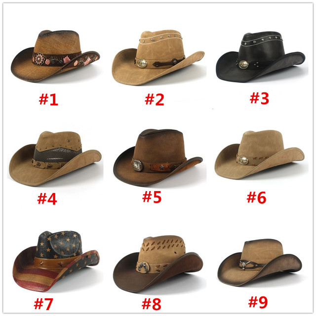 Fashion Women Men Western Cowboy Hat For Dad Gentleman Lady Sombrero Hombre Jazz Caps With Tauren Belt Size 58CM