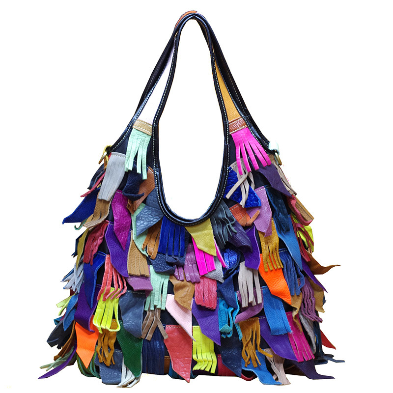 588  Europe and United States Color Top Layer Leather Handbag Tassels Totes Single Shoulder Slanting Womens Bag588  Europe and United States Color Top Layer Leather Handbag Tassels Totes Single Shoulder Slanting Womens Bag