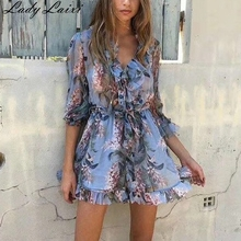 2019 Summer Floral Print boho Women Playsuits V Neck sexy Long sleeve Summer jumpsuit romper chic beach Jumpsuits