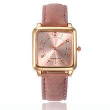 Relojes de oro rosa de moda cabeza cuadrada de cuero de las mujeres Reloj de pulsera clásico Reloj de cuarzo Digital Reloj Casual Reloj de Mujer