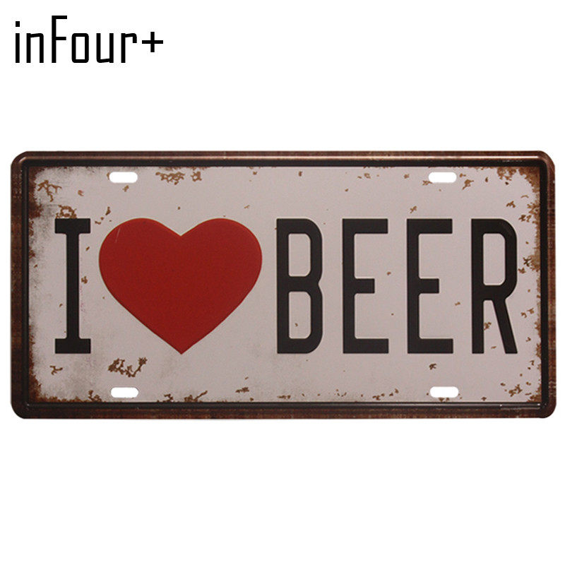 [inFour+] Hot I Love Beer Plate Metal Plate Car Number Tin Sign Bar Pub Cafe Home Decor Metal Sign Garage Painting Plaques Sign