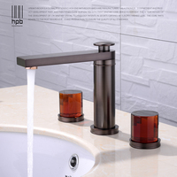 HPB Basin Faucet Sets Tap Bathroom Agate Oil Rubber Bronze Sink Faucet Widespread Water Mixer Deck Mounted Water Mixer HP3202