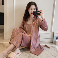 NEW Womens Velour 3pcs Strap Top Pants Suit Robe Sleepwear Sets Casual Home Wear Pajamas Sexy Nightwear Sleep Kimono Bath Gown