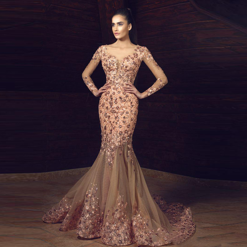 Gorgeous Floral Applique Evening Gowns With Detachable Train Long ...