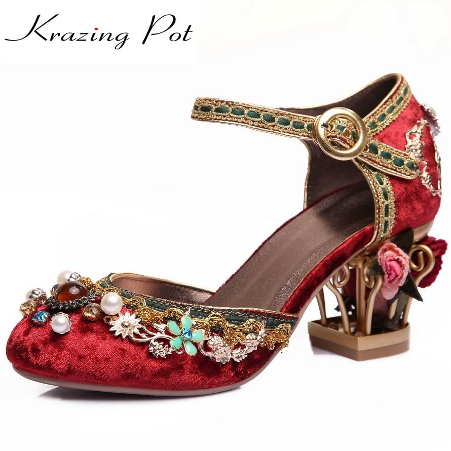 Krazing 냄비 2018 새로운 패션 브랜드 신발 럭셔리 큰 크기의 꽃 진주 하이힐 여성 펌프 파티 결혼식 크리스탈 인과 신발-에서여성용 펌프부터 신발 의  그룹 1