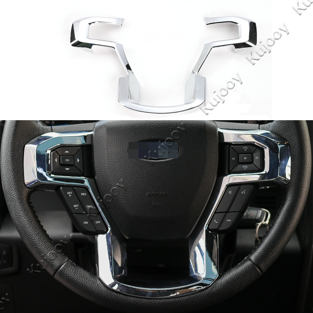 Interior chrome abs steering wheel button frame ring trim decal sticker for ford f150 2015 2016