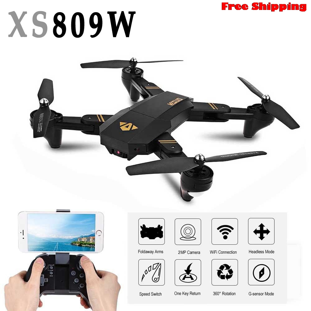 Mini Drone XS809W Foldable RC Selfie Drone Wifi Real Time FPV 2MP 120 FOV Photos and 720P Videos 3D Flip Function Free Shipping jjr c jjrc h43wh h43 selfie elfie wifi fpv with hd camera altitude hold headless mode foldable arm rc quadcopter drone h37 mini