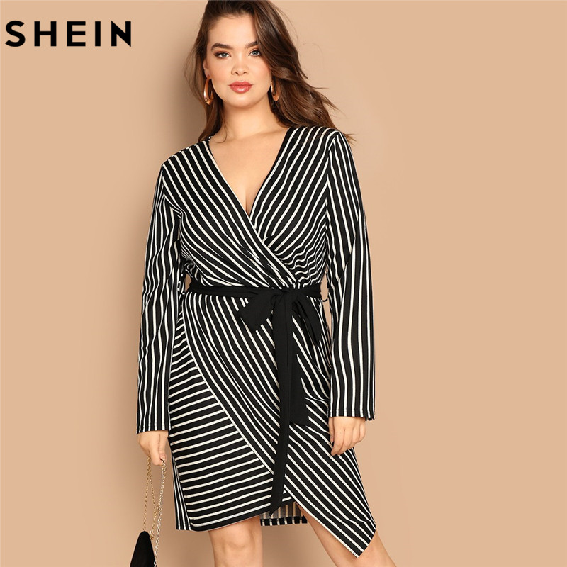 SHEIN Black And White Plus Size Deep V Neck Striped Dress Asymmetrical Hem Women Workwear Going Out Elegant Dresses