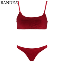 BANDEA Sexy Bikini Swimwear Women Swimsuit Solid Bandeau Bikini Set Beach Thong Bathing Suit Brazilian Swimming