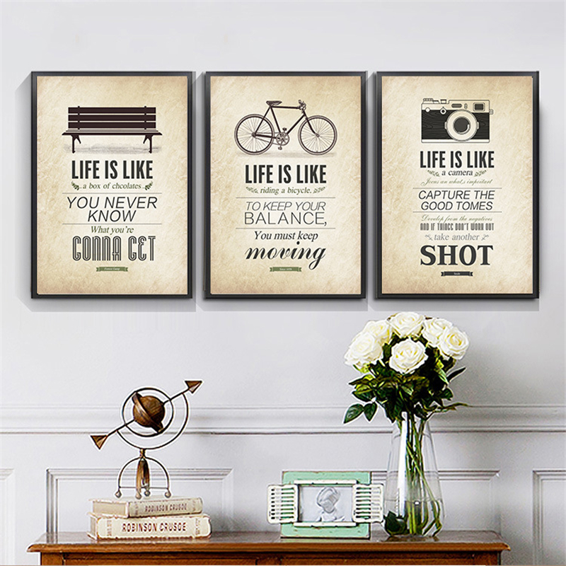 HAOCHU Nordic Decorative Canvas Painting Abstract Pictures Positive Sentence with Bicycle Camera Mountain Hat Bench for Children