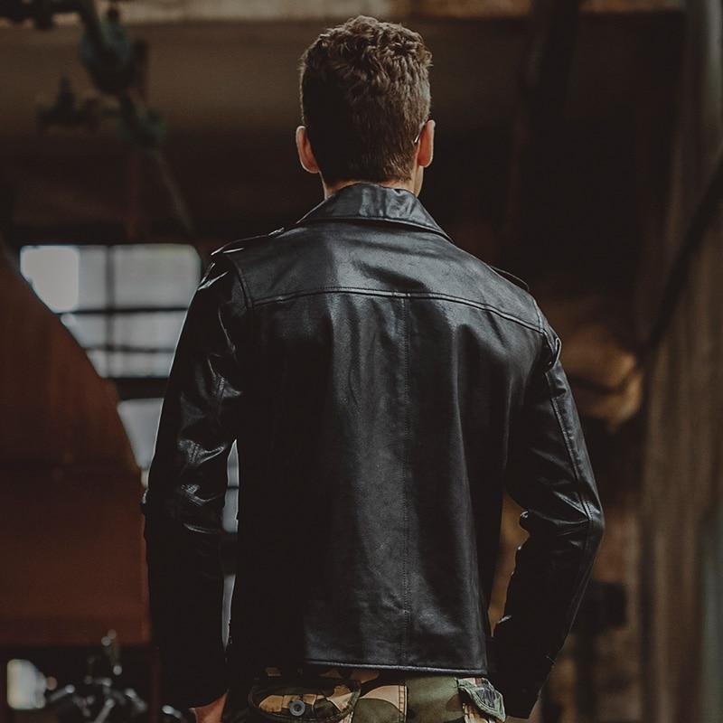 6f0a78cd29 US $129.6 55% di SCONTO|Uomo pelle di cinghiale Nera Genuino giacca di  Pelle moto giacche di pelle vera cappotto di inverno degli uomini in Uomo  pelle ...
