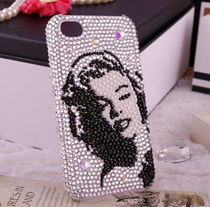 sexy Marilyn Monroe bling phone case for iphone 4/4s diamond mobile phone housing for iphone 4g phone back cover 309
