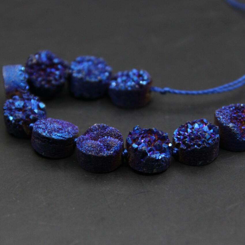 20pcs strand Purple Brown Titanium Druzy Agate Drilled Coin Pendant,Cabochons Raw Drusy Agate Gemstones Flat Round Beads Charm Necklace 10mm