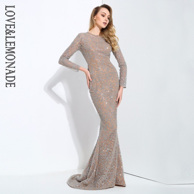 b411dedebb6ad US $56.75 14% OFF|Love&Lemonade Silver Flower Vine Tail Shape Glitter Long  Dresses LM0655-in Dresses from Women's Clothing on Aliexpress.com | Alibaba  ...