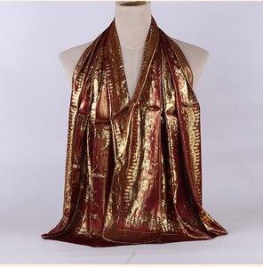 Image 3 - 1pc Women Retro Hijab 100% Silk Jacquard Scarf Ladies Long Shawls Wraps Pashmina Islam Headband Bufandas Muslim Sjaal 55*165CM