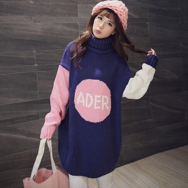 Средней длины материнства свитер утолщение осенью и зимой свободно размер одежды для беременных осень топ с длинными рукавами платье