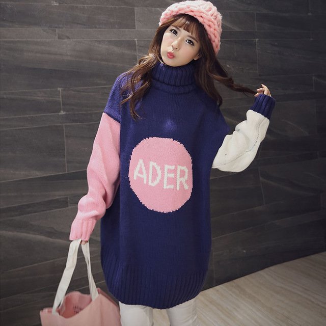 Medium-long maternity sweater thickening autumn and winter loose size maternity clothing autumn top long-sleeve dress