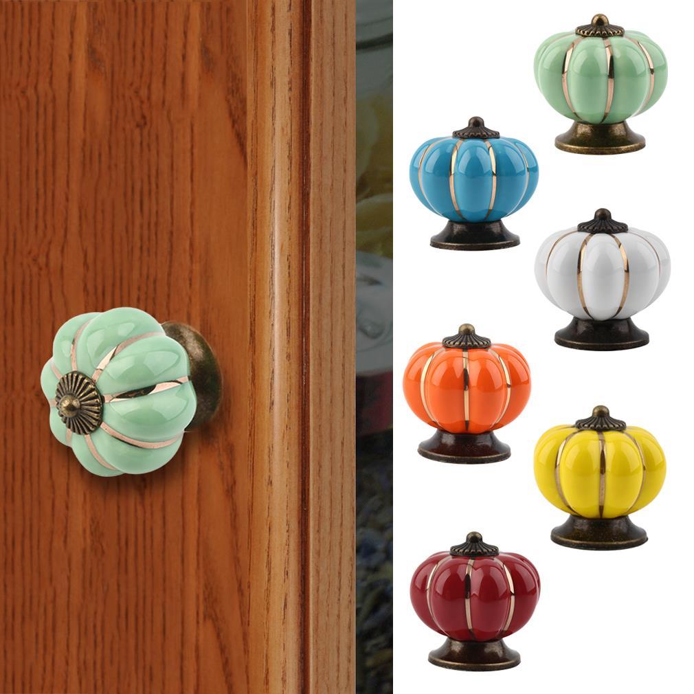1pc Europe Ceramic Pumpkins Door Drawer Cabinet Cupboard Pull Handle Knob some pumpkins
