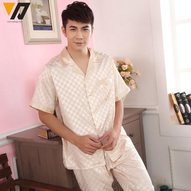 Ropa de dormir Pijama Loungewear Mens Del Verano Satén De Seda Pajamas Set Pijama pijama Conjunto Más Tamaño