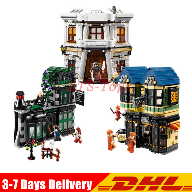 Fit For 10217 LEPIN 16012 2025pcs Movie Series The Diagon Alley Set Model Building Kits Set Blocks Bricks Toys Gift lepin 24020 creative series features robo explorer set 31062 model building kits block bricks toys gift for children