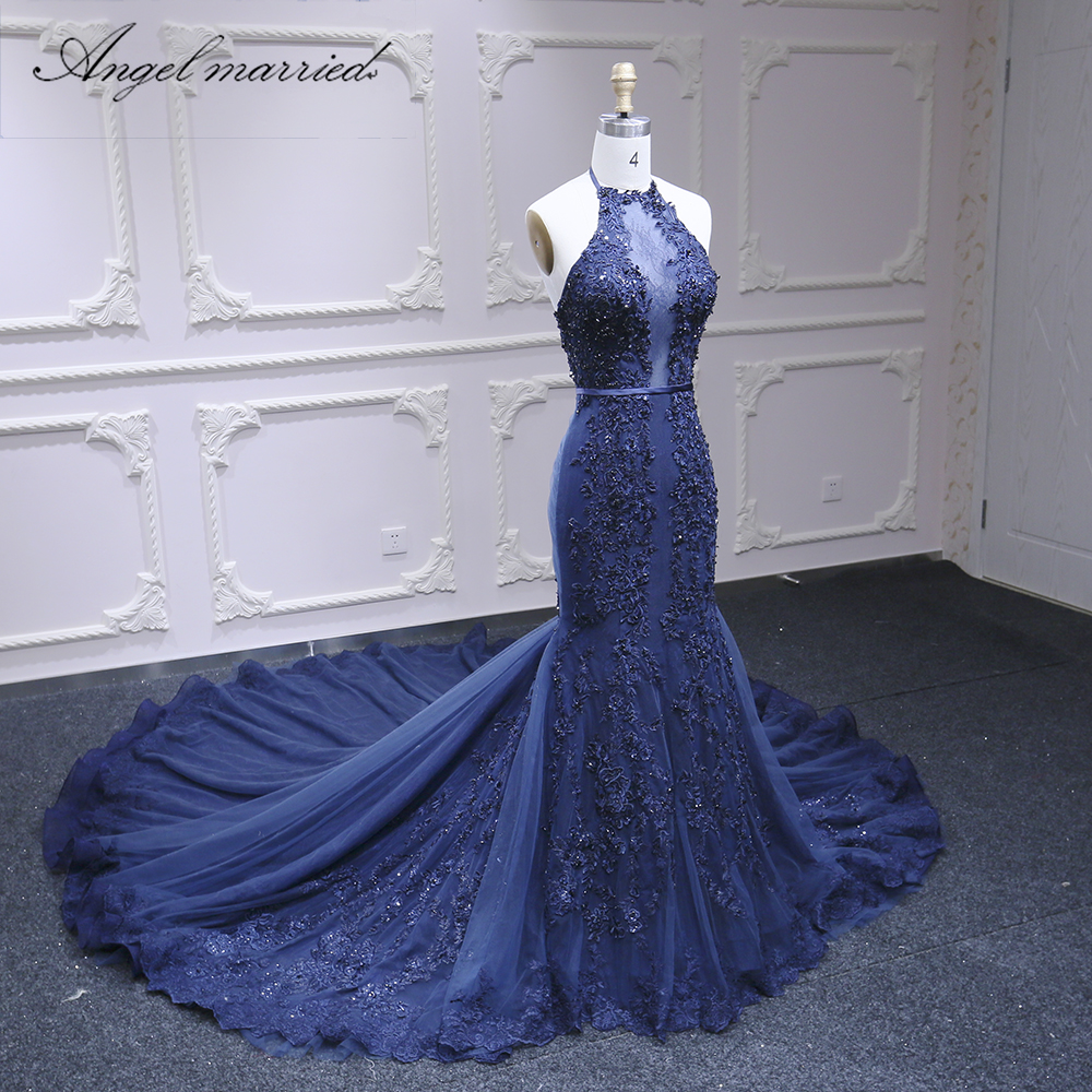 Angel married luxury evening dress slim sexy women Pageant dress navy blue beads long formal dresses vestido de festa longo - 2