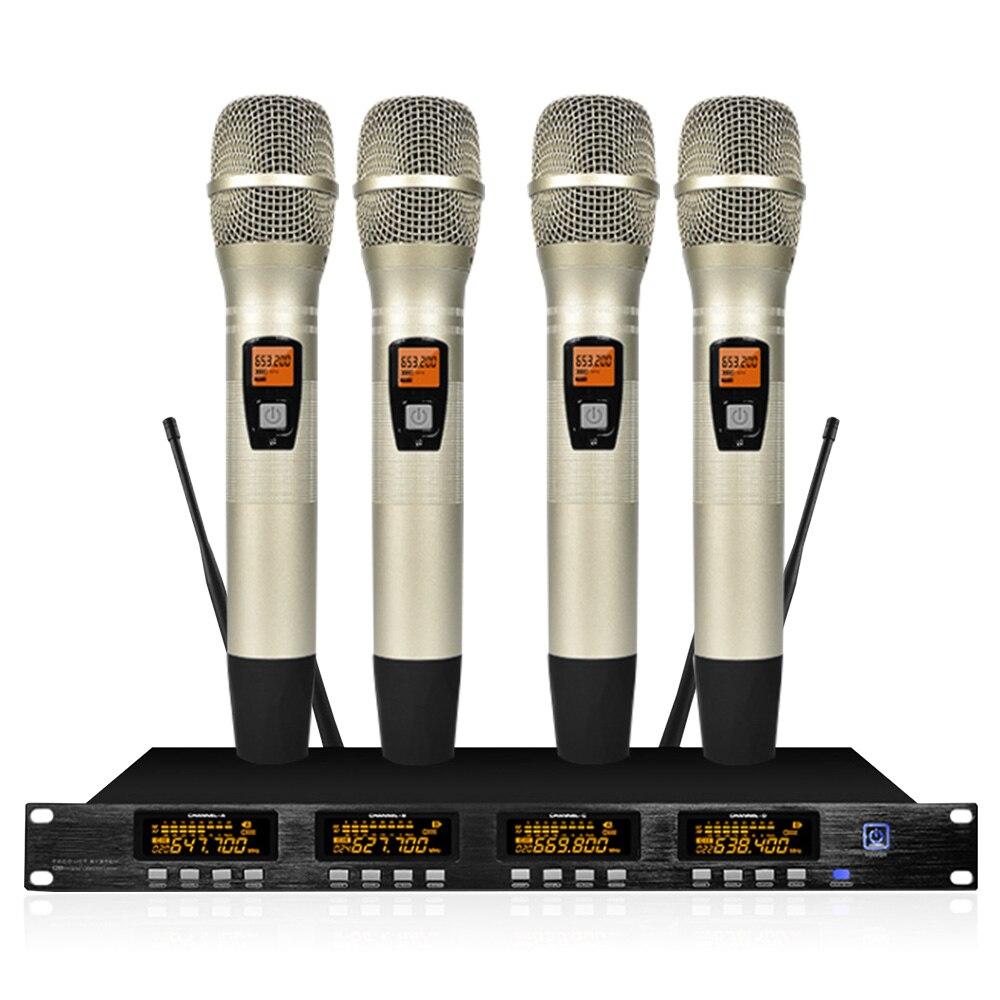 Système de microphone professionnel sans fil à quatre canaux UHF microphone de lavalier portable scène de soirée karaoké