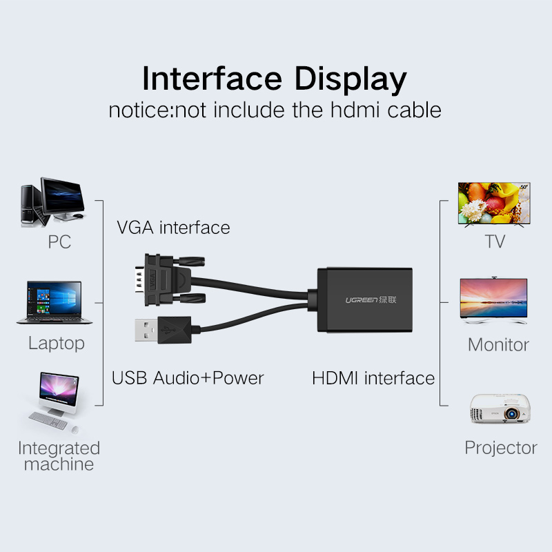 Aliexpress.com  Buy Ugreen Active VGA to HDMI converter cable adapter with audio 1080P for PC laptop to HDTV Projector With built in chipset from Reliable ...  sc 1 st  AliExpress.com : vga to hdmi wiring diagram - yogabreezes.com