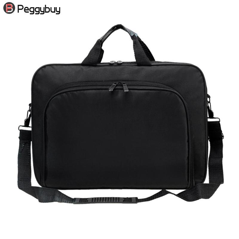 Business Portable Unisex Nylon Computer Handbags Zipper Shoulder Laptop Simple Bags Briefcase Black