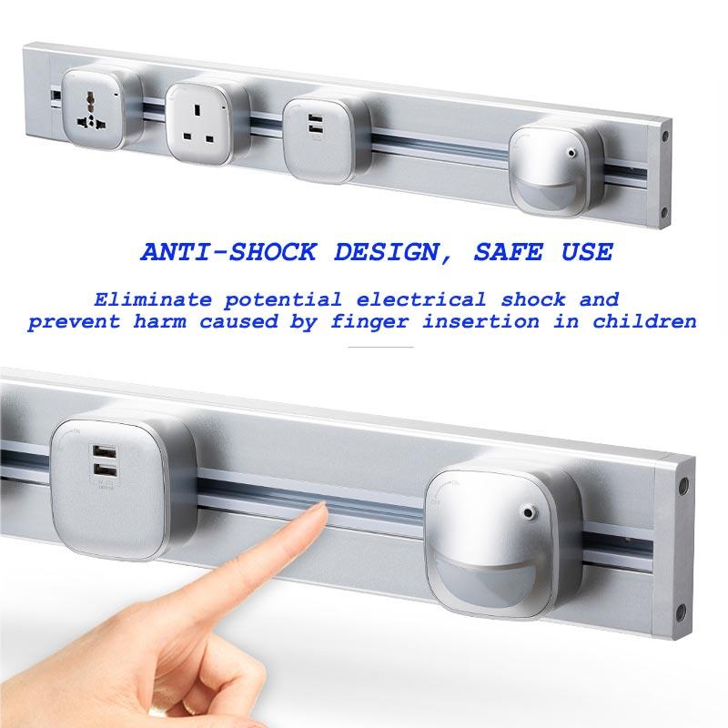 JOHO 100CM aluminium prise murale maison intelligente double USB Port chargeur adaptateur 8000W rectangulaire ue prise prise prise de courant - 2