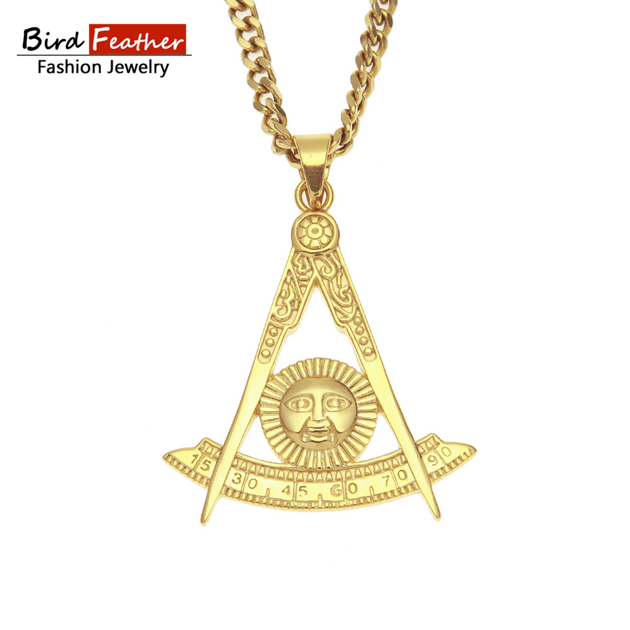 color necklace ag item chain jewelry steel from masonic pendant for fashion golden women men stainless in pendants hip sun necklaces hop