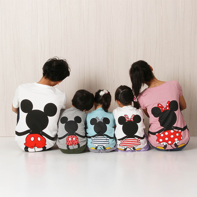 Dad and Me T-shirt Summer Mother and Daughter Clothes Boys Girls Mickey Minnie Mouse Cotton Top Family Matching Clothes H0046