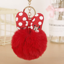 Cute Mickey Bowknot Rabbit Fur Ball Pompom Keychain For Women Bag Key Ring Llaveros Chaveiros Key Holder Gift Porte Cle EH337(China)
