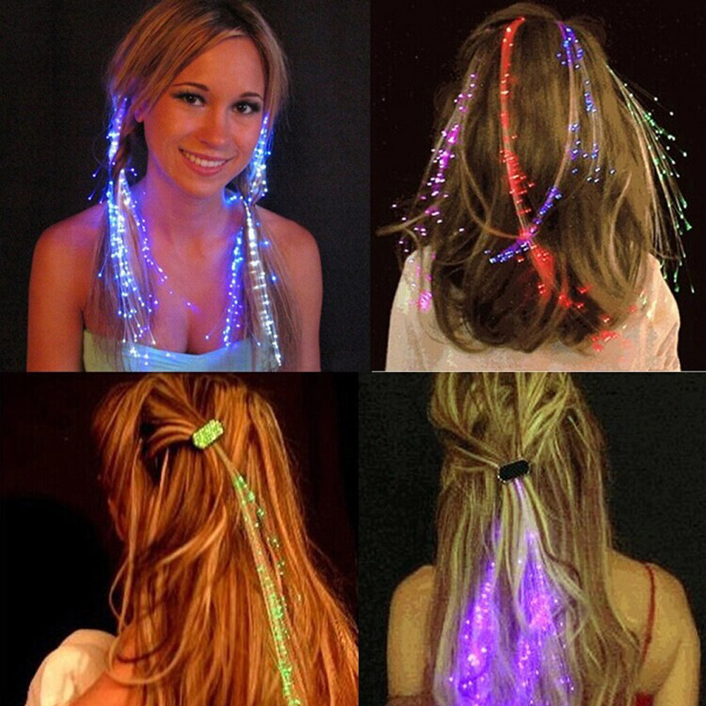 1pcs/lot Colorful LED Wigs Glowing Flash LED Hair Braid Clip Hairpin Decoration Ligth Up ...
