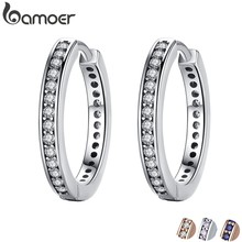 2018 FLASH DEALS 4 Colors 925 Sterling Silver CZ Simple Female Hoop Earrings Jewelry for Women Sterling Silver Jewelry PAS456(China)