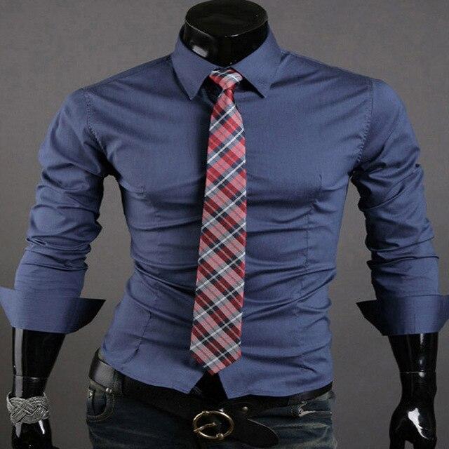Мода Повседневный Бизнес Рубашка С Длинным Рукавом Slim Fit Топы Ти Люкс Рубашки Вскользь Платья 10 Цвета 4 размер