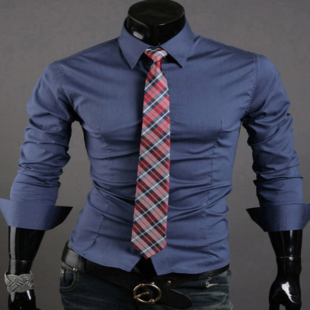 Fashion Men's Casual Shirts Business Shirt Long Sleeve Slim Fit Tops Tee Luxury Casual Dress Shirts 10 Colors 4 Size