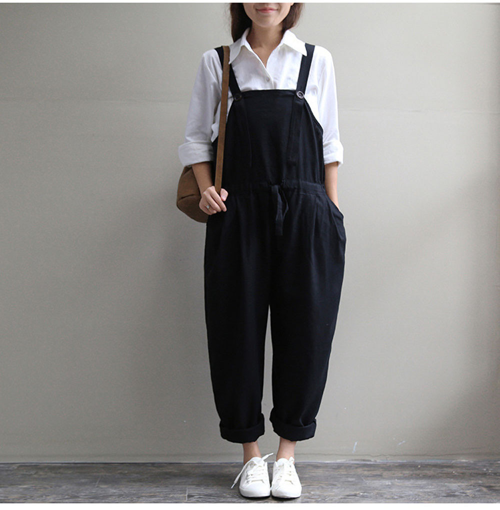 Free Ostrich womens Women Oversized Dungaree   Jumpsuits   Casual Loose Long Pants Trousers body feminino combinaison femme D1335