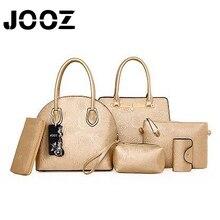 JOOZ Brand Luxury Embossing Lady Handbag 6 Pcs Composite Bags Set Women Crossbody Shoulder Shell Bags Coin Purse Clutches Wallet