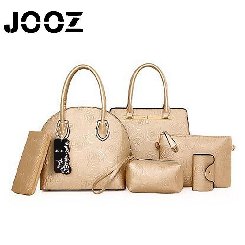 JOOZ Brand Luxury Embossing Lady font b Handbag b font 6 Pcs Composite Bags font b