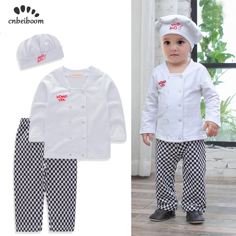 Baby boys sets chef play suit cotton white shirt+plaid pants+hat long sleeves toddler kids clothes outfit kids party costume одежда на маленьких мальчиков