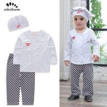 2644246f43fb Bebé niños conjuntos chef juego traje de algodón blanco Camisa + pantalones  a cuadros + sombrero de manga larga Niño niños traje.