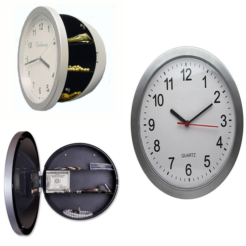 New  2017 Wall Clock Safe Box Creative Hidden Secret Storage Box for Cash Money Jewelry Storage Home Office Security Safes steel safe box key lock money jewelry storage security box for home school office with compartment tray lockable safes size xl