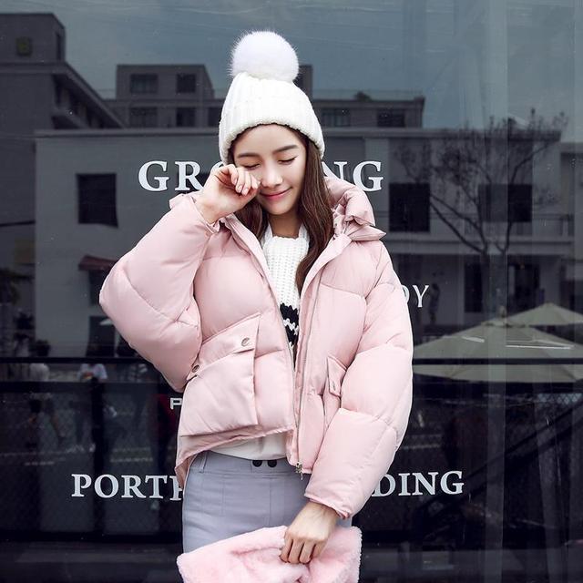 Moda de invierno de Las Chaquetas del Diseño del Cortocircuito de Algodón Acolchado Abrigos Mujer Causual Warm Hoodies Flojos Parkas Acolchadas Casaco Feminino