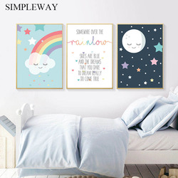 Moon Rainbow Cloud Nursery Quotes Poster Print Wall Art Canvas Painting Nordic Kids Decoration Picture Child Baby Bedroom Decor