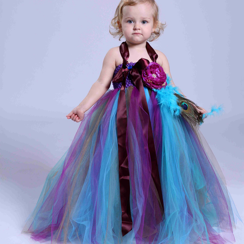 New Baby Girls Trailing Peacock Tutu Dress Tulle Feathers Flowers Girl Dresses Kids Girls Party Wedding Birthday Pageant Dresses ash wood body matt black finish tele electric guitar guitarra all color accept