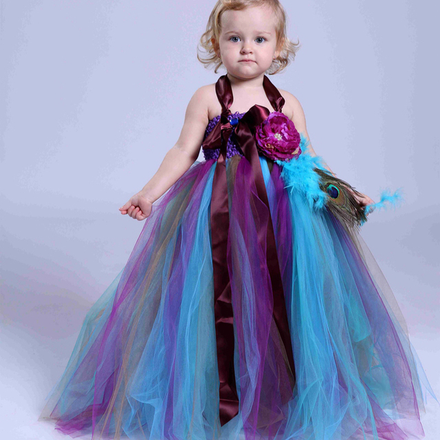 d6e09341c New Baby Girls Trailing Peacock Tutu Dress Tulle Feathers Flowers Girl  Dresses Kids Girls Party Wedding Birthday Pageant Dresses