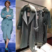 Erstaunlich winter mantel frauen, mode frauen wollmantel, elegante manteau femme hiver, lamm-pelz-verstärktes mit kragen, mit argyle futter