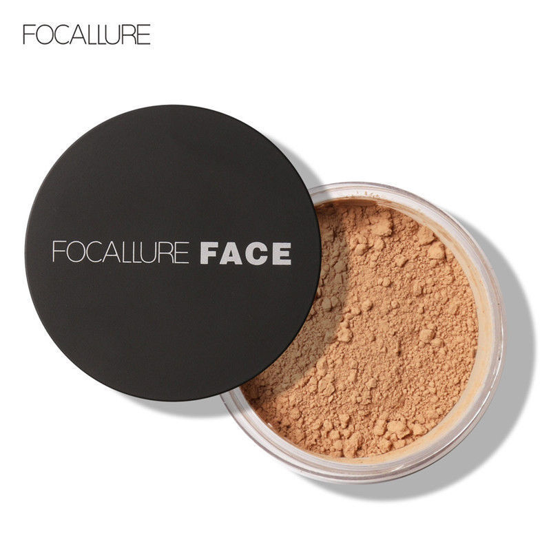 Focallure Translucent Loose Setting Powder 3 Color Waterproof Skin Finish Mineral Powder Face Contour Makeup With Cosmetic Puff