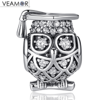 VEAMOR 925 Sterling Silver Wise Owl Beads Pave Clear Cubic Zircona Animals Bead Charms Fit Pandora